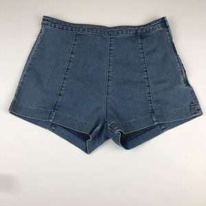 H&M High-Waisted Denim Shorts with side zipper